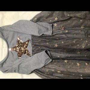 Toddler kids size 4 silver and gold sparkly dress